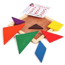 7pcs Mini Wooden Brain Training Geometry Tangram Puzzle Kids Educational Toy