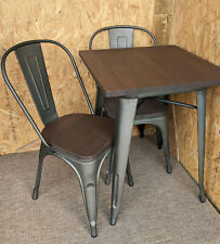 More details for new tolix tarnished metal chair & table dining set retro french bistro bar cafe