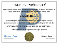 INDIANA PACERS PERSONALIZED FAN DIPLOMA, GREAT GIFT