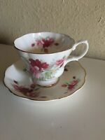 Vintage Royal Albert Bone China, Teacup and Saucer w/ Red and Pink Roses England