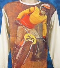 NOS vtg 70s MOTOCROSS PHOTO PRINT L/S T-Shirt S/M motorcycle mx biker jersey 80s