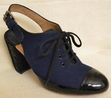 Dries van Noten Navy Slingback Shoes with Sequin Heels Size 7