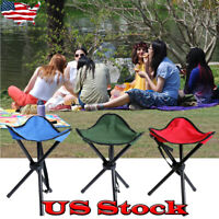 Outdoor Portable Camping Hiking Fishing Folding Picnic BBQ Stool Tripod Chair US