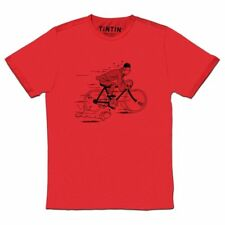Tintin & snowy T-Shirt fleeing on a bike t-shirt X-LARGE Official Moulinsart RED