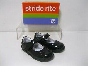 NEW STRIDE RITE BLACK CORA TODDLER GIRLS SHOES MARY JANE SIZE 7W *BRAND NEW*
