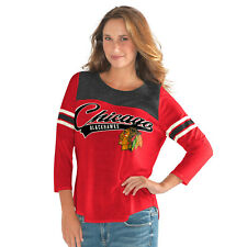 G-III 4her Chicago Blackhawks Women's Touchdown 3/4 Sleeve Shirt - Red/Black