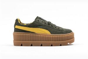 Puma Fenty by Rihanna Cleated Creeper Suede womens platform shoe 366268 01 green