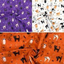 Polycotton Fabric Halloween Spooky Cats Stars Lightning Bolts