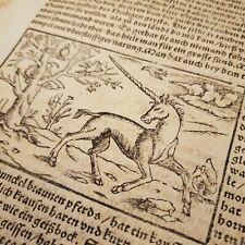 1493 Nuremberg Chronicle UNICORN Mythology WOODCUT Single Leaf INCUNABLE Scarce