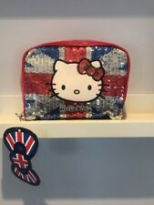 BNWT Claire's Accessories hello kitty union jack sequin make up bag pouch london