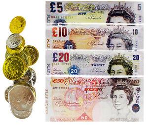 Childrens Kids Play Toy Pretend Money Role Shops Cash £ Pound Notes Coins
