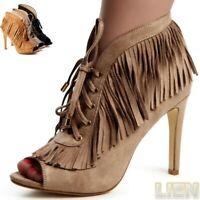 Damen Pumps Stiefeletten Sandalen Peep Toe Western Cowboy Style