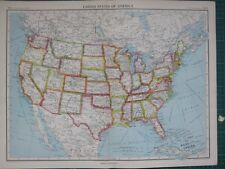 1952 Large Map ~ United States Of America Texas Florida California Kansas Ohio
