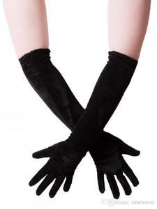 Stretchy velvet Gloves Goth Fancy Dress black Retro 1920s Witch