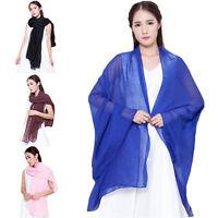 Women's Fashion Long Cotton Linen Wrap Scarf Shawl Solid Color Stole Pashmina Se