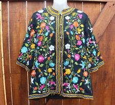 Vintage 60s Leandra Crochet Embroideries Large Black Color Florals Tunic Top