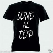 t-shirt uomo donna maglia maniche corte nera cotone con scritta SONO AL TOP