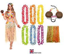 HAWAIIAN FANCY DRESS COSTUME Ladies Hula Coconut Bra Lei Garland Hen Party Lot