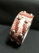 Pink Snakeskin Metal Bangle Bracelet