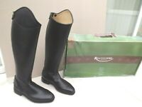 """NEW RECTILIGNE LONG RIDING BOOTS,BLACK LEATHER,5.5 / 6 UK,14.5"""" 37 CM CALF,BOXED"""