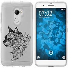 Case für HTC One X10 Silikon-Hülle Floral Katze M2-1 + 2 Schutzfolien