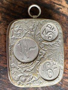 Art Nouveau Nickel Coin & Sovereign Pocket Watch Chain Fob Coin Case Dispenser