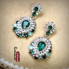 Earring Stud Gold Green Emerald Crystal Flower Drop Pendant Vintage Wedding X6