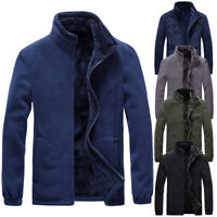Mens Full Zip Windproof Fleece Jacket Casual Work Winter Warm Coat Top Outwear