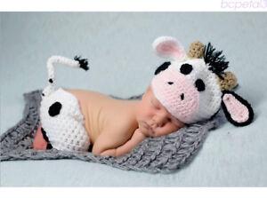 Newborn Baby Crochet Knit Cow Costume Photography Prop Hat + Pants