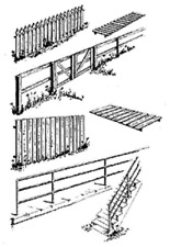 FENCE & RAILING Fencing 5 Assorted types 60cm HO 1/87 scale Central Valley 1601