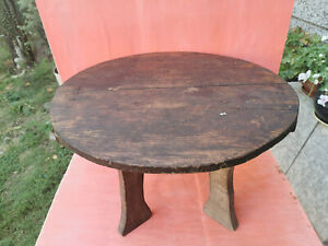 ANTIQUE PRIMITIVE OLD WOODEN ROUND OTTOMAN TABLE DINNING TABLE