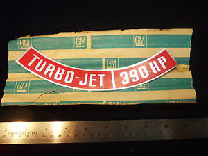 NOS 1966-1969 Corvette Impala Turbo-Jet 390HP Air Cleaner Decal Sticker 427 70