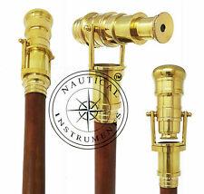 Maritime Nautical Walking Stick Telescope Handle Wooden Brown Cane Mid Century