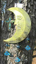 Moon and Stars metal wind chime with acrylic jewels yard or porch decor