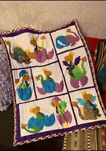 Patchwork Quilt Handmade*Cot*Dinosaur*Photo Prop*wall Hanger Deco*Newborn Baby