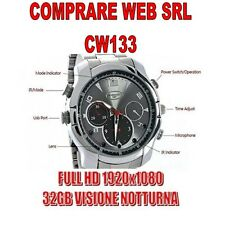 SPY WATCH 32GB STEEL WATCHBAND FULL HD INFRARED NIGHT VISION CAMS CW133