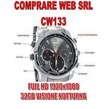 OROLOGIO SPIA 32GB CINTURINO ACCIAIO FULL HD INFRAROSSO NIGHT VISION CAM CW133