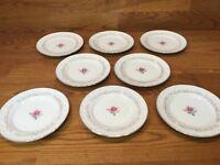 "8 Royal Swirl Fine China Of Japan - 6 1/4"" Bread Plates - Pink Rose"