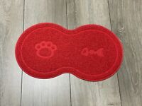 "Red ""8"" Shape Pet Dog Puppy Cat PVC Placemat Bowl Feeding Food Mat Wipe Clean UK"