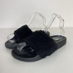 River Island Ladies Black Faux Fur Shaggy Slip On Sliders Sandals Shoes UK 6/39