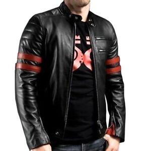 Mens Cafe Racer Biker Leather Jacket Red Stripes Motorcycle Style Jacket Coat