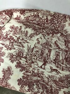 """JCPenny Red And Cream Toile Valence 58"""" X 23.5"""" Free Shipping"""