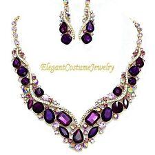Amethyst Purple Crystal Necklace Set Elegant Wedding Formal Pageant Prom Jewelry