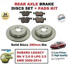 FOR SUBARU LEGACY Mk V 2.0 D LPG 2.5 AWD 2009-2014 REAR BRAKE PADS + Solid DISCS