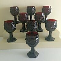 "9 Avon 1876 Cape Cod Ruby Red Water Goblets- 4 1/2"" NEW - No Box"