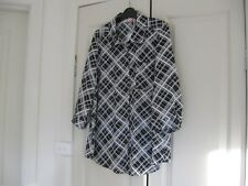 Ladies Blouse Design Millers Woman  Size 14  Black & White Check 3/4  Sleeves