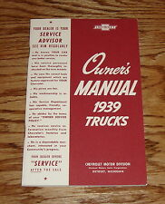 1939 Chevrolet Truck Owners Manual 39 Chevy