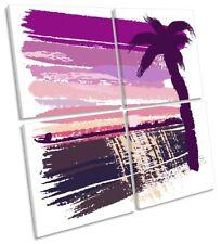 Pink Palmera Playa MULTI LONA pared arte cuadrado de la obra de arte
