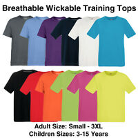 Mens Boys Girls Performance T Shirt Wickable Breathable Training Gym Sport Top