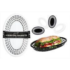 Classic Oval Food Basket Pack of 4 - Fast Food Side Order Plastic Serving Burger